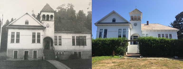The schoolhouse before and after rennovation